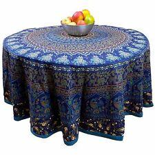 "Handmade 100% Cotton Elephant Mandala Floral 81"" Round Tablecloth Blue"