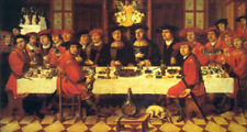 "perfect 48x24 oil painting handpainted on canvas""Dinner party""@12943"