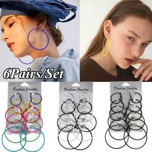 6Pairs/Set Women Earrings Eardrop Multicolor Sexy Circle Hoop Earring Stud UK