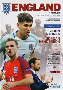ENGLAND v Malta (World Cup 2018 Qualifier @ Wembley) 2016 - Official programme