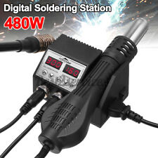 2 In 1 Lcd Digital Display Rework Soldering Station Iron Hot Air Gun With4 Nozz