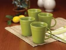 FOUR Rachael Ray Double Ridge stoneware coffee mugs in GREEN
