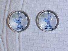 Eiffel Tower & Blue Butterfly glass dome stud silver toned 12mm earrings