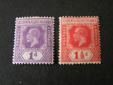 GILBERT & ELLICE iS. SCOTT # 28/29(2), 1p+11/2p. VALUES 1921-27 KGV ISSUE MH