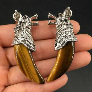 Natural Tiger's eye quartz crystal Wolf fang skull Carved pendants healing 1pc