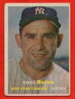 1957 Topps #2 Yogi Berra GOOD+ CREASE Hall of Fame New York Yankees FREE SHIP