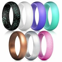 7PCS Flexible Silicone Wedding Engagement Ring Men Women Rubber Band Gym Sports