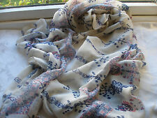 E684 Cream Navy Blue Red Abstract Paisley Lightweight Ladies Scarf Pashmina