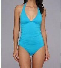 DKNY Swim One Piece Sz 6  Capri Blue Solid Halter Maillot Swimsuit D62381