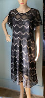 M&S Fit And Flare Semi Sheer Dress With underslip U.K. Size 14 Black Mix BNWOT