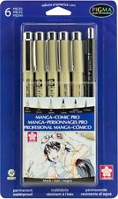 Sakura MAGNA-COMIC PRO Pens 6 pc ALL BLACK #50201 Sizes 005 03 08 1 PIGMA MICRON