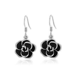 Silver Rhinestone Jewelry Black Rose Flower Pendant Earring Gift