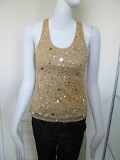 INFLUENCE - MUSTARD YELLOW VEST TOP, RACING BACK SEQUINED SIZE  SMALL