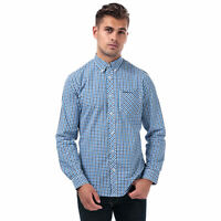 Mens Ben Sherman Ls House Check Shirt In Blue- Check Design Throughout- Long