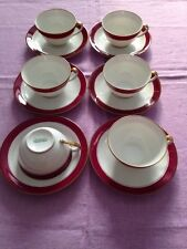 Chastagner & Cie Limoges Pre Wwii 1940s 11 Teacups And Saucers Nr2099