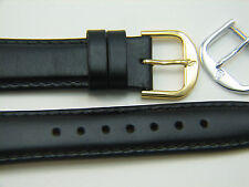 Black genuine Saddle Leather Men's 20 R watchband watch strap band 2 buckles