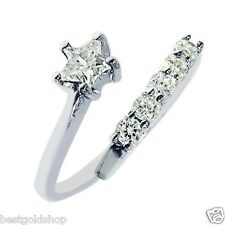 Star Cut & Prong Set Cz Ring Real Solid .925 Sterling Silver One Size Fits All
