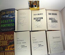 DAN BROWN SIGNED COMPLETE 6 HC BOOK NOVEL COLLECTION DA VINCI CODE INFERNO PROOF