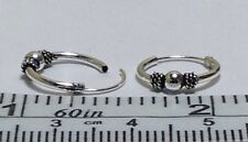 12 mm diameter x 1.2mm thick Real Sterling Silver Bali Ball Design Hoop Earrings