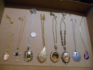 VINTAGE LOT OF 8 LARGE PENDANT NECKLACES,AVON,SC,W. GERMANY,METZKE,2 CAMEO
