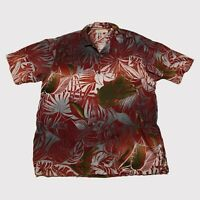 Tommy Bahama Mens Large 100% Silk Palm Trees Hawaiian Camp Shirt Button Up
