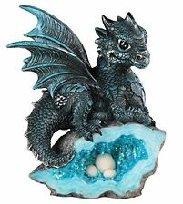 Blue Medieval Baby Dragon with Crystal Egg Decorative Figurine Polyresin Statue