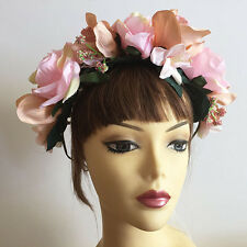 Large Pink Rose Flower Floral Wedding Bridal Beach Headband Hair Crown Garland