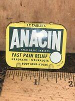 Vintage Anacin Fast Pain Relief Headache Body Ache 12 Tablet Pocket Tin