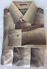 Ted Baker Men Dress Shirt Sz 6 Brown Striped Long Sleeve Cotton Blend