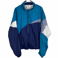 VTG Avait Sportif Windbreaker Jacket Men's XL Navy Blue Teal White Full Zip 80s