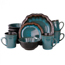 Dinnerware Sets Mystic Waves 16 Piece Luxury Set Unique Pattern Texture NEW