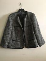 Charter Club Tweed Gray Cream Black Wool Blend Jacket Blazer Women Size 20W