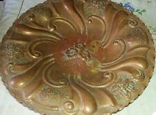 Antico Piatto da muro VASSOIO RAME lavorato vintage big copper plate diam 36 cm