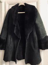 Women's Rachelle Suede Black Shearling lambskin sheep fur jacket raw cut Coat S