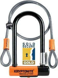 Kryptonite Evolution Mini 7 Bike U Lock & 4 Foot Flex Cable - Sold Secure Gold