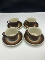 Imperial by W. Dalton P9851 MOCHA Lot of 4 Coffee Cups with Saucers