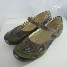 Naot Womens 9 M Green Brown Blue Leather Mary Janes Shoes Cut Out Detail EU 40