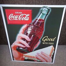 "COCA COLA/ COKE, GOOD WITH FOOD/SANDWICH ,  METAL WALL SIGN 12.5""X 16"" (41X30cm)"