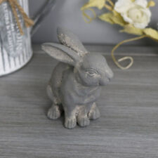 Small Grigio SEDUTO BUNNY RABBIT Ornamento Figura SHABBY CHIC VINTAGE Regalo Carino