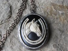 HORSE AND HORSESHOE (HAND PAINTED) CAMEO ANTIQUED SILVER PLATED LOCKET