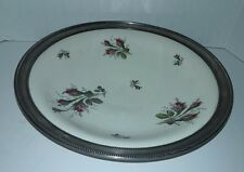 Vintage Rosenthal Selb- Germany Moss Rose Footed Platter - Sterling Silver Edge
