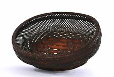 Late 19th Century Japanese Bamboo Weaving Basket Bowl Ikebana Flower Arrangement