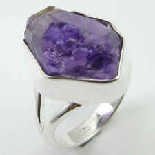 925 Sterling Silver Purple AMETHYST UNSHAPE Ring Size 7.25 Fashion Jewelry
