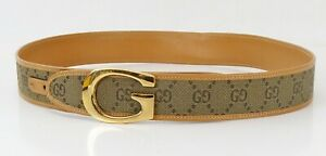 Authentic GUCCI Khaki GG Canvas Brown Leather Belt with Goldtone G Buckle #40708