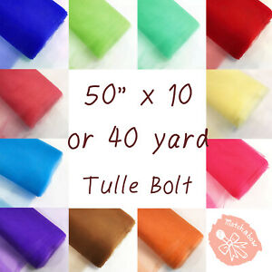 """White TULLE NET FABRIC 6/"""" x 25 yards Bolt Crafts Sewing Put-up Wedding Party"""