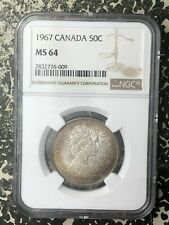 1967 Canada 50 Cents NGC MS64 Lot#RM36 Silver! Toned!