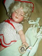 "Ideal Shirley Temple 13"" compo. doll, TWO orig. tagged outfits, pin, wig & TRUNK"