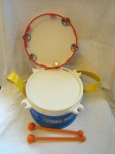 Kids Children's Fisher Price Musical Plastic Instrument Toy Set Drum Tambournie