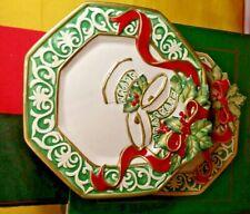 "Fitz And Floyd Christmas Bells Canape Plate 8"" Original Box"