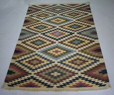 Handmade Indian Oriental Multi Color Accent Cotton Kilim Rug 4x6 Feet DN-1138